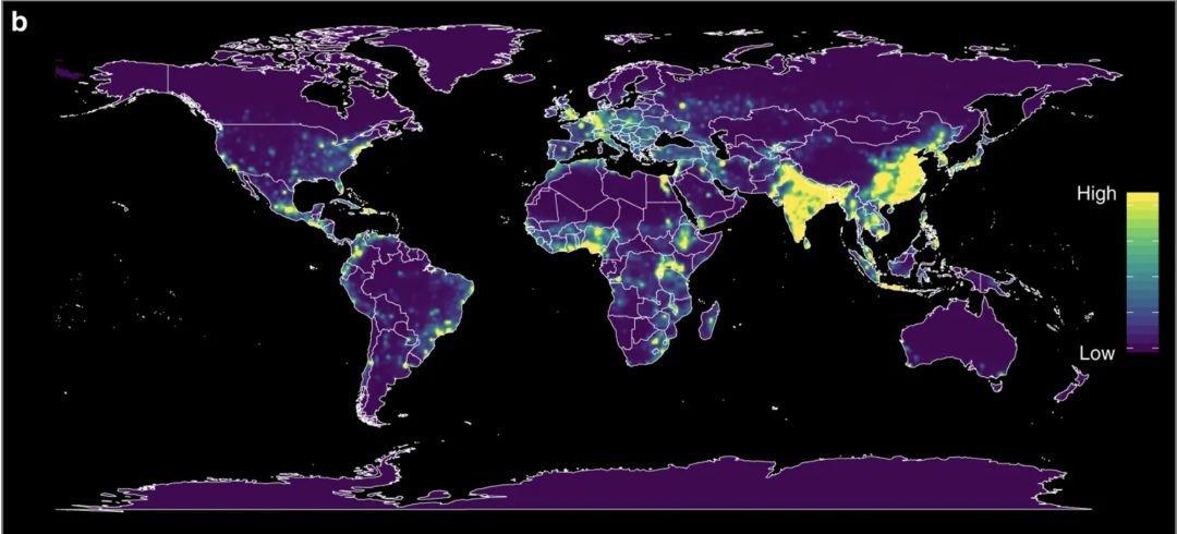 图|按人口重新加权后,模型预测人畜共患疾病EID事件的相对风险分布热力图(来源:Nature)